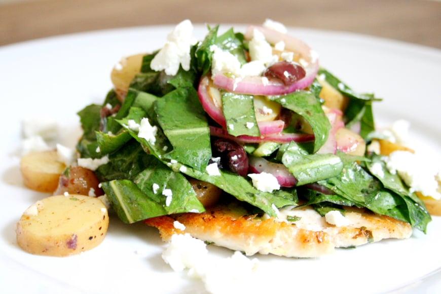 Chicken Paillard with Fingerling Potato & Dandelion Greens Salad