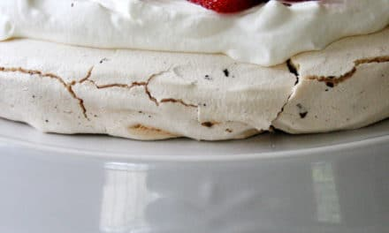 Pavlova with Dark Chocolate and Strawberries