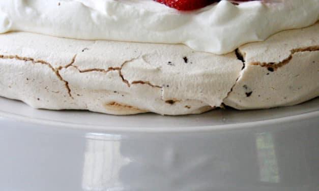 Pavlova with Dark Chocolate and Strawberries