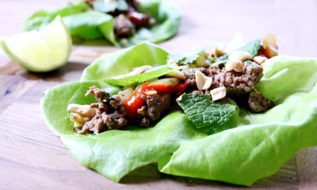 Beef Lettuce Wraps with Mint, Cilantro & Peanuts
