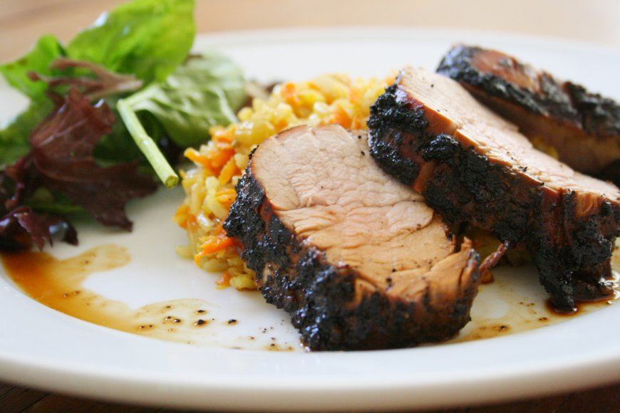 Coffee-Marinated Grilled Pork Tenderloin & Curried Carrot Coconut Rice