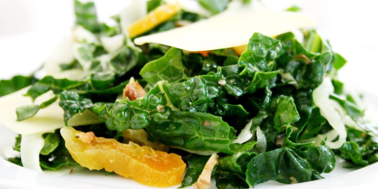 Lacinato Kale Salad with Comté, Fennel, Walnuts & Apricots