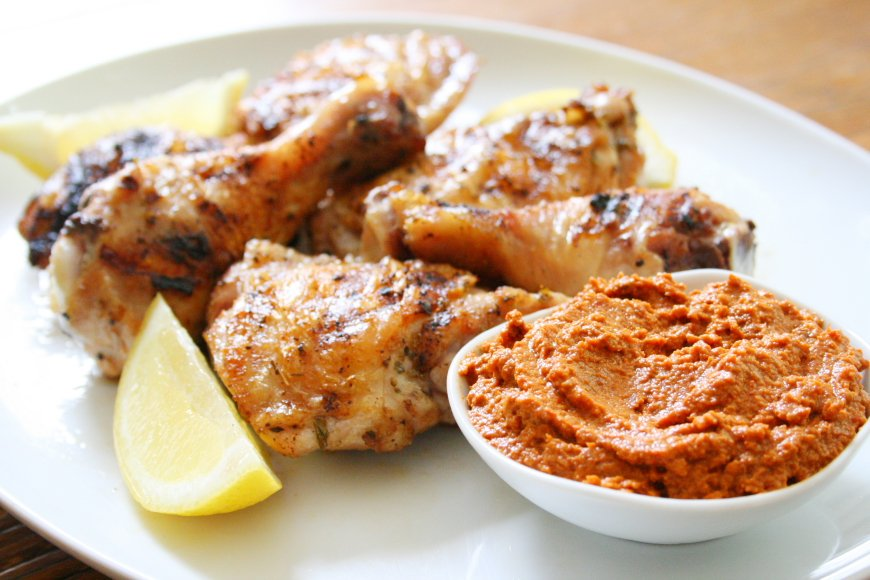 Brined Grilled Chicken with Romesco Pesto