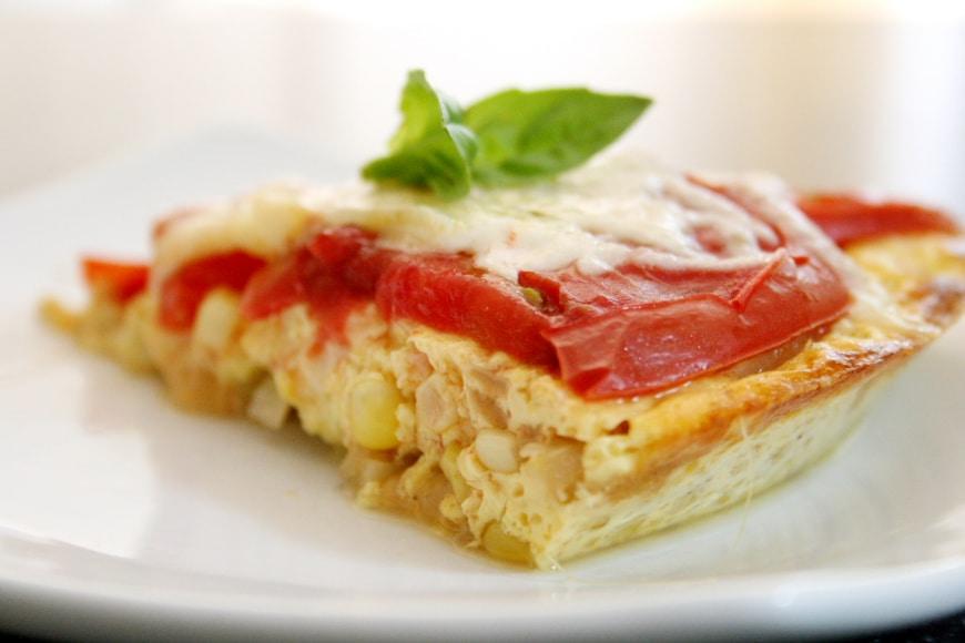 Crustless Corn & Tomato Pie