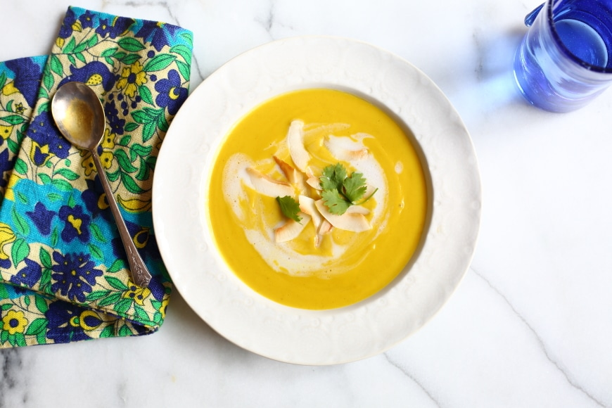 This vegan squash soup is luxuriously creamy with a touch of sweetness and heat. It's perfect as an elegant first course or a satisfying main dish!