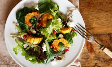 Maple-Roasted Delicata Squash Salad with Goat Cheese & Pomegranate Seeds