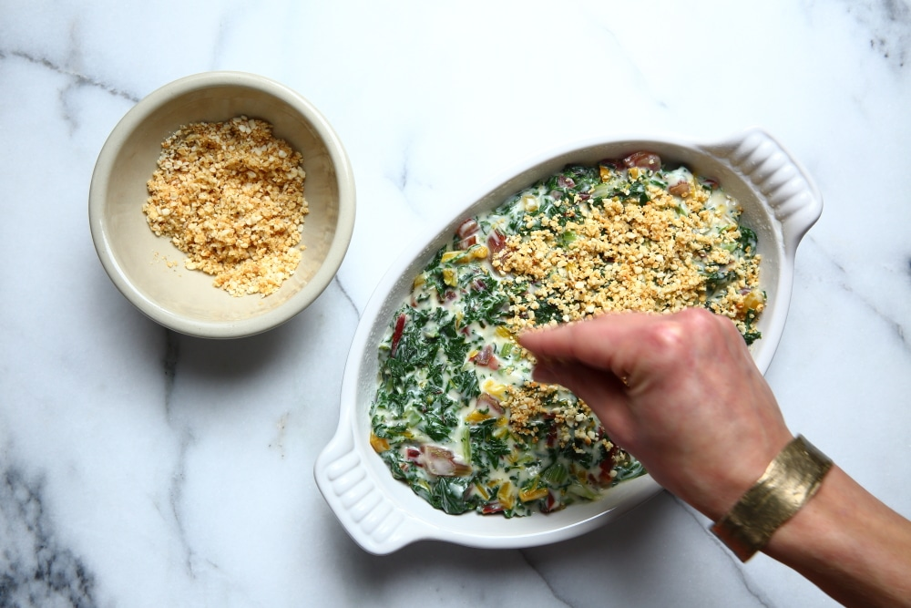 Adding breadcrumb topping to Swiss chard gratin