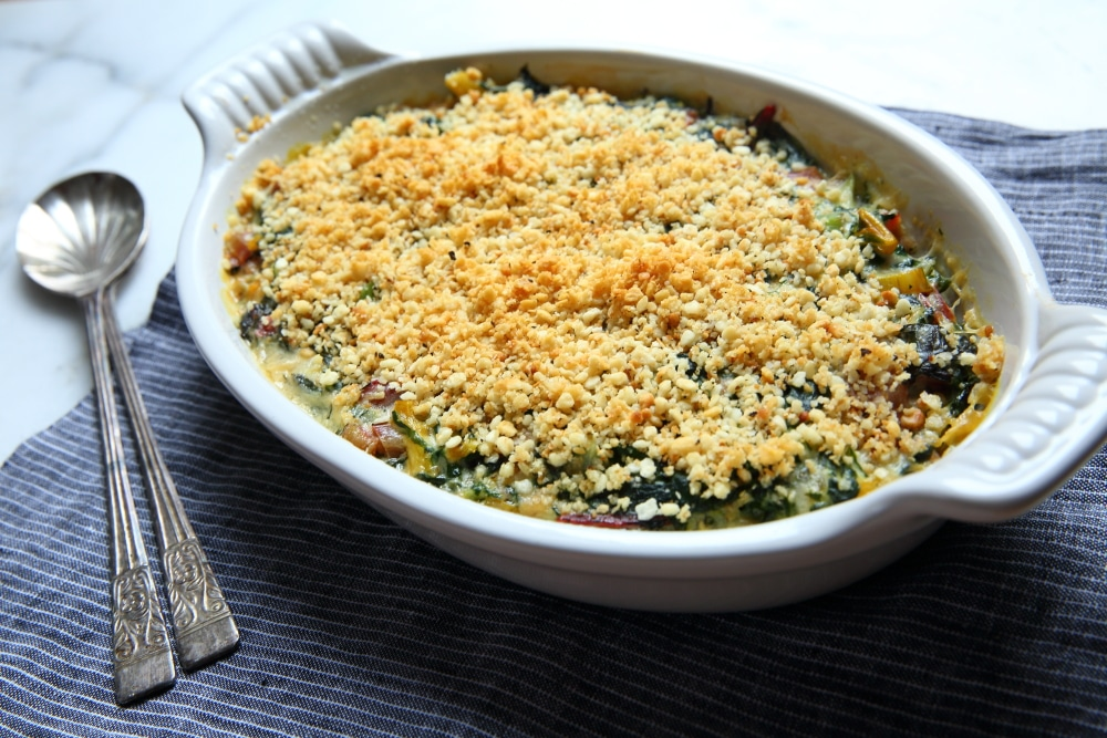 Swiss chard gratin in baking dish