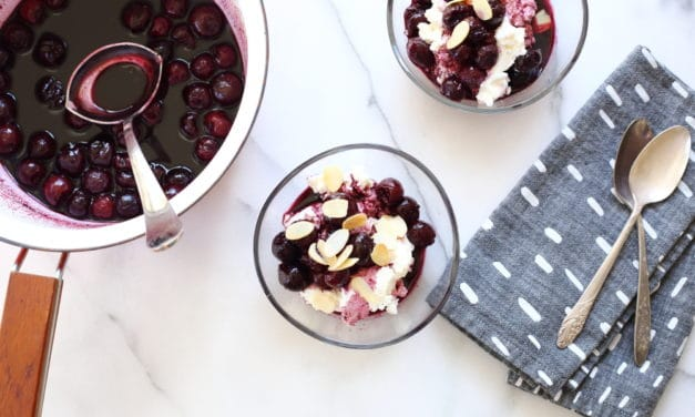 Cherries in Port with Fresh Ricotta (easy cheesecake bowls!)