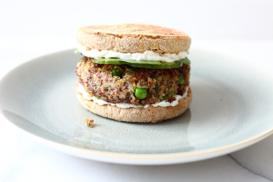 These quinoa and white bean burgers are naturally vegan and gluten-free, and they're a breeze to throw together!