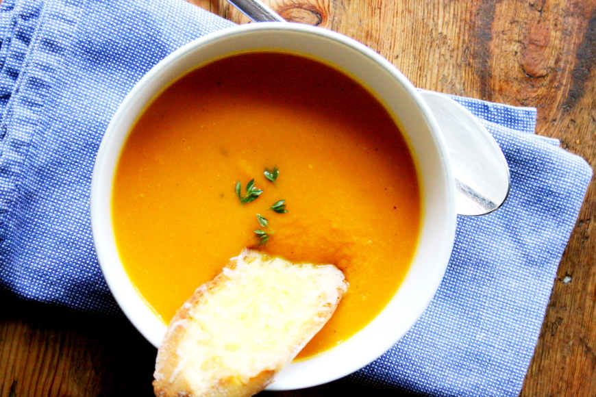 Quick Vegetable Potage with Cheddar Crisps