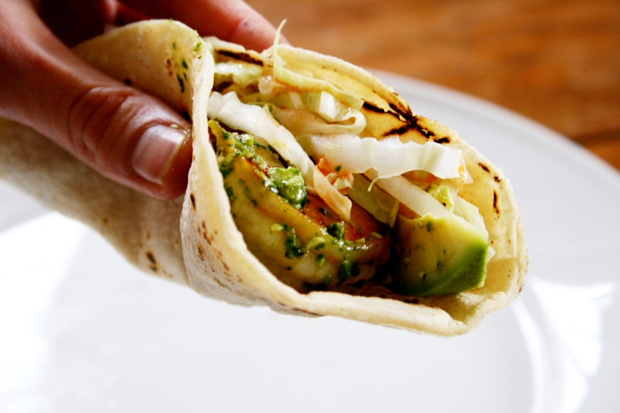 Shrimp Tacos with Pumpkin Seed & Spinach Pesto
