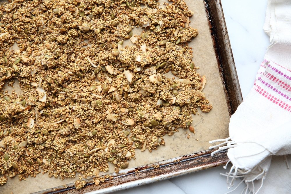 Millet granola on baking sheet