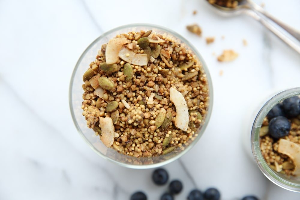 Close up of millet granola in jar