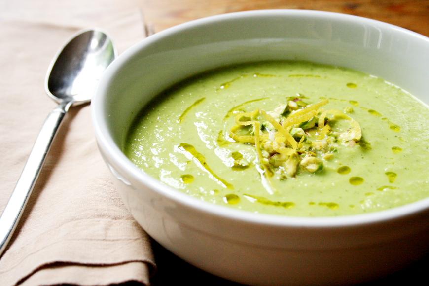 Chilled Pea, Squash & Mint Soup