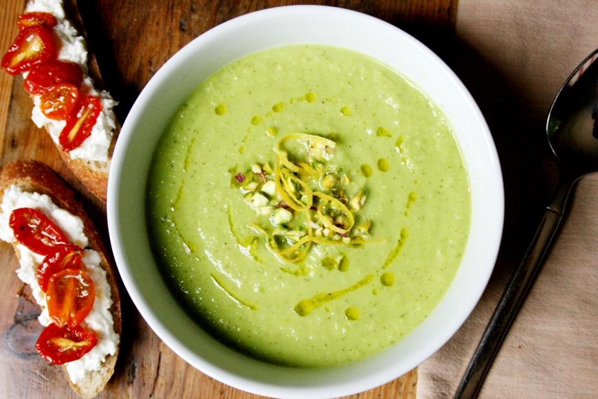 Chilled Pea Squash Mint Soup