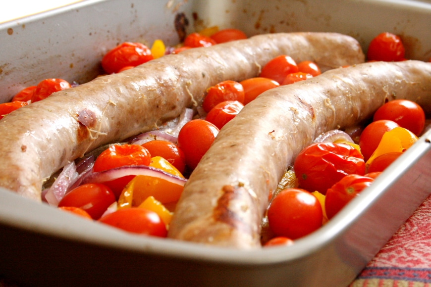 Sausages, Peppers, Tomatoes