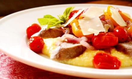Sausages, Peppers & Tomatoes with Parmesan Polenta