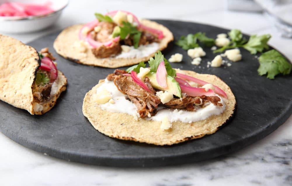 Easy Slow Cooker Carnitas with Quick Pickled Red Onions