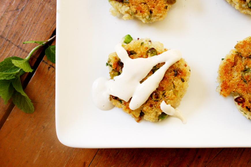 Quinoa Cakes with Yogurt Tahini Sauce