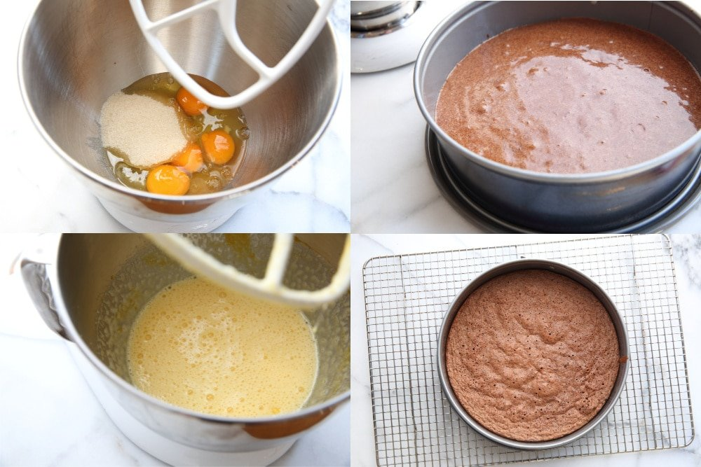 Process shot showing steps for making gluten free chocolate almond cake, divided into 4 steps.
