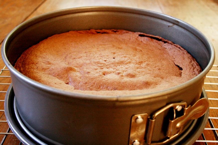 Chocolate Almond Cake in tin
