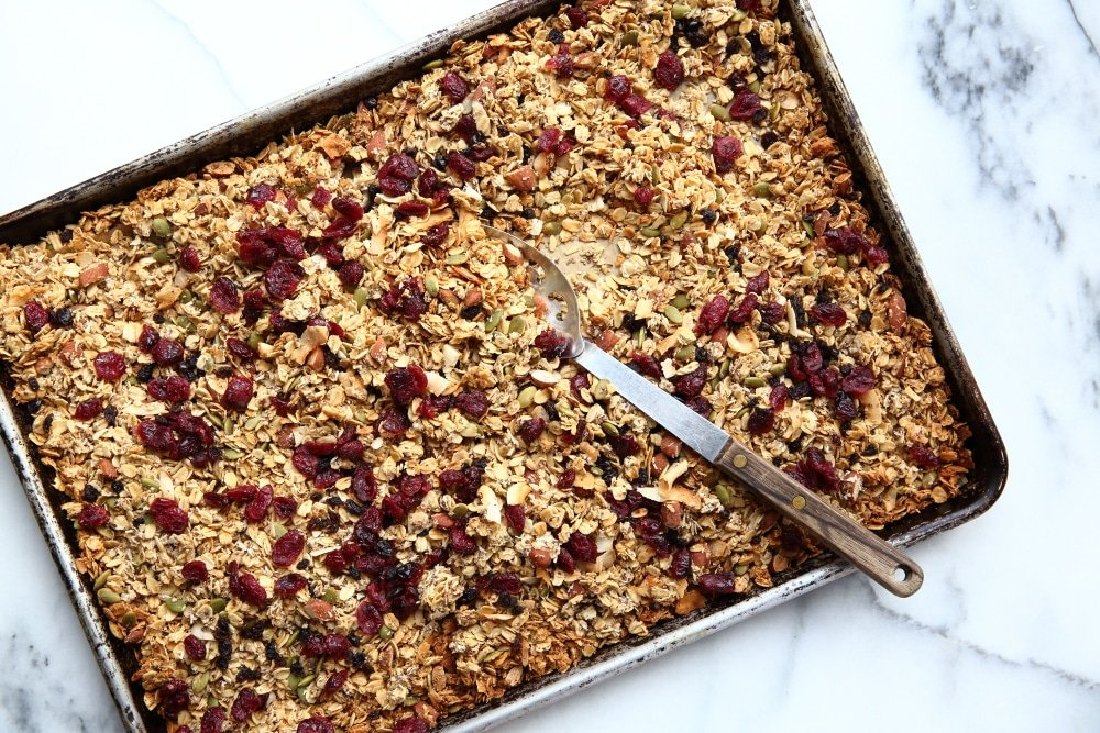 gluten free granola recipe on sheetpan