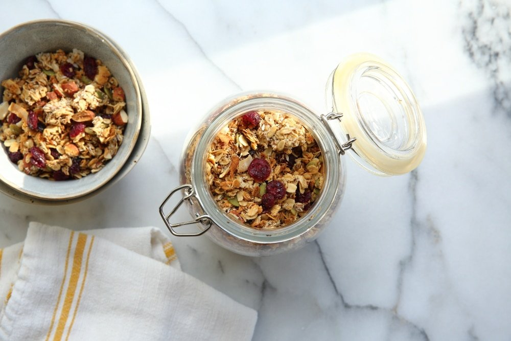 gluten free granola recipe in large jar
