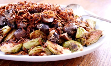 Caramelized Brussels Sprouts & Mushrooms with Fried Shallots