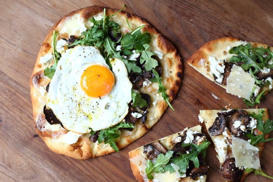 Roasted Mushroom, Goat Cheese & Arugula Flatbread Pizzas