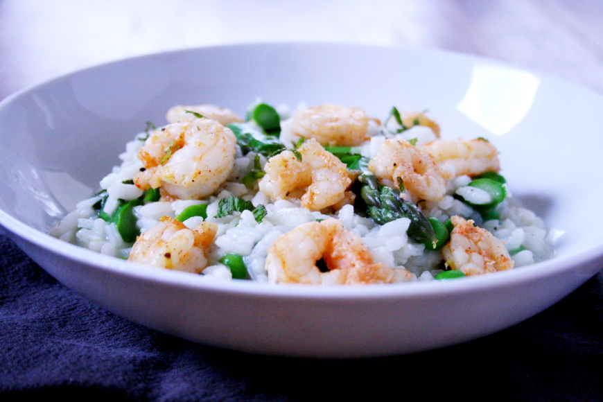 No-Stir Risotto with Asparagus, Peas & Smoky Roasted Shrimp