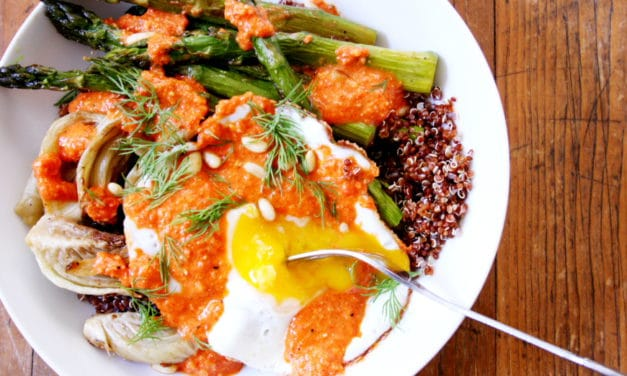 Roasted Fennel & Asparagus Quinoa Bowls with Fried Eggs & Smoky Red Pepper Sauce