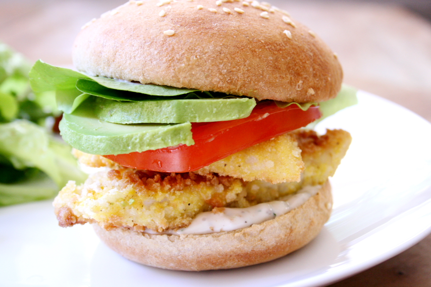 Crispy Fish Sandwiches with Avocado, Tomato & Herbed Mayonnaise