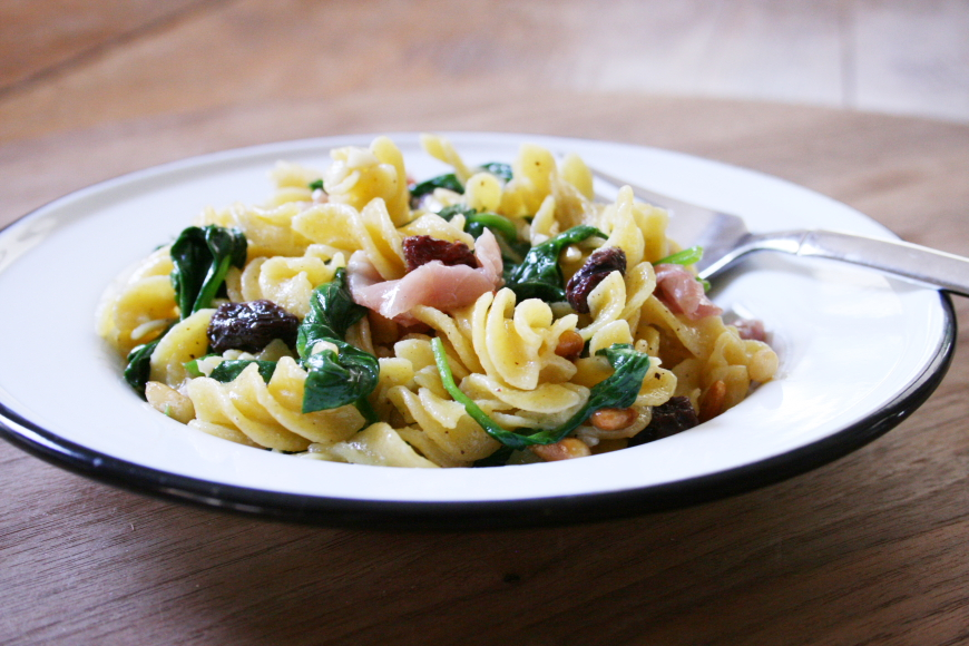 From Scratch Fast Families: Pasta with Prosciutto, Spinach, Pine Nuts & Raisins