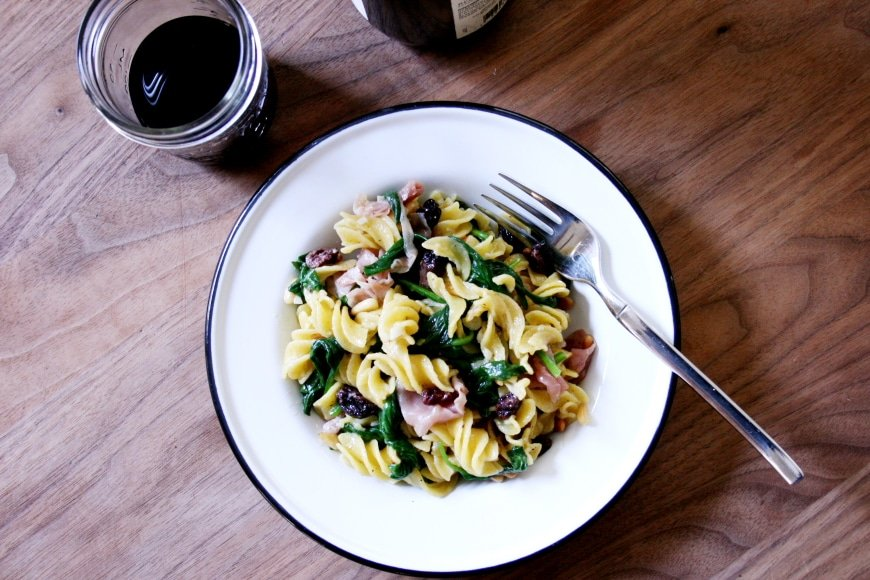 Pasta with Prosciutto, Spinach, Pine Nuts