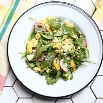 Sweet corn salad on plate
