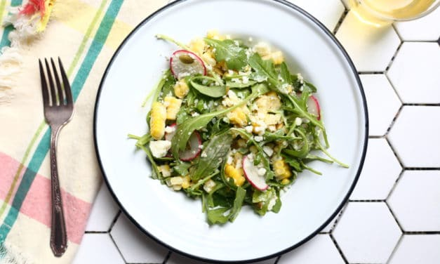 Sweet and Smoky Corn Salad with Arugula, Radishes & Cotija