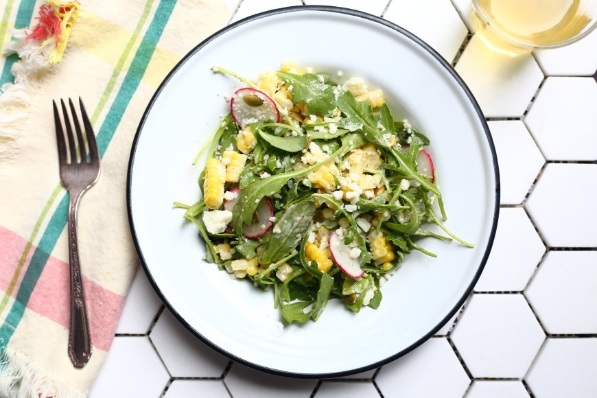 Sweet and Smoky Corn Salad with Arugula, Radishes & Cotija