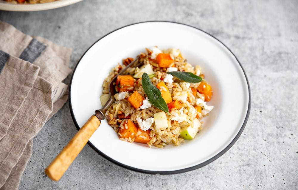 Butternut Squash Salad with Apples, Goat Cheese & Grains