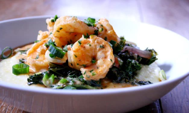 Spicy Shrimp and Greens over Grits
