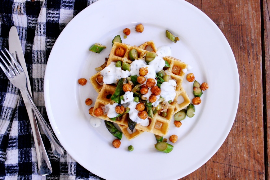 Chickpea Waffles with Asparagus, Minty Yogurt and Crispy Chickpeas