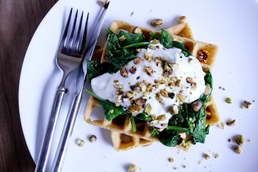 Chickpea Waffles with Sauteed Spinach, Yogurt & Pistachios