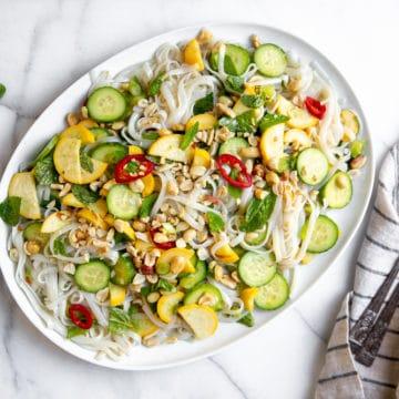 Rice noodle salad on a platter.