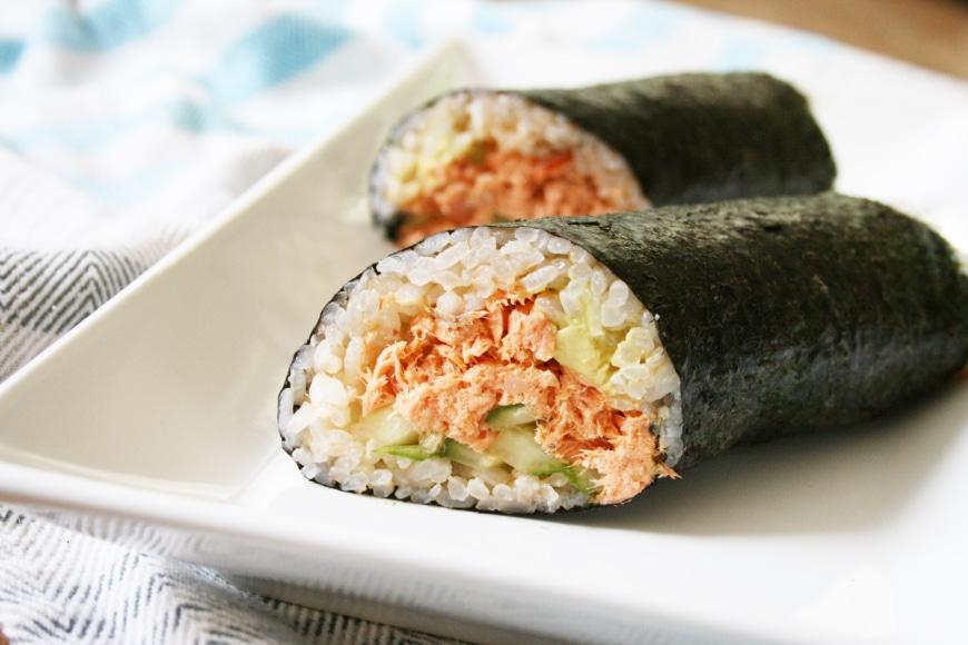 Spicy Salmon Sushi Burrito | Gluten-Free