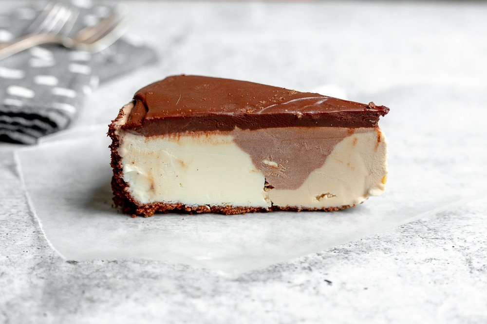 Slice of easy ice cream pie on counter