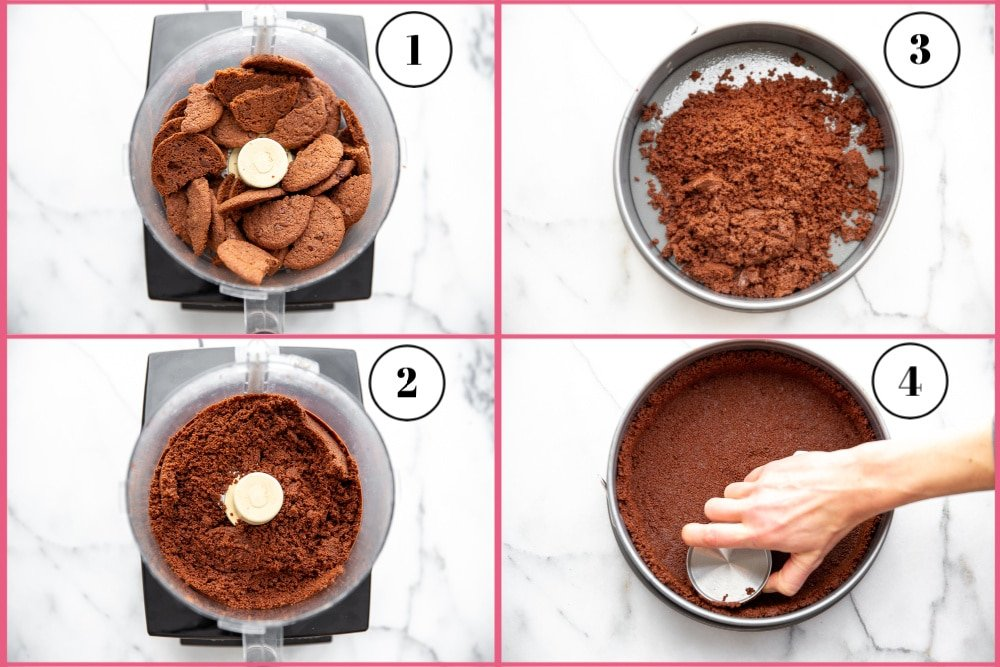 Process of making the press-in cookie crust in 4 steps
