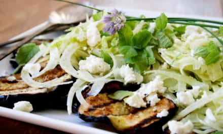 Grilled Eggplant Salad with Fennel, Feta & Mint