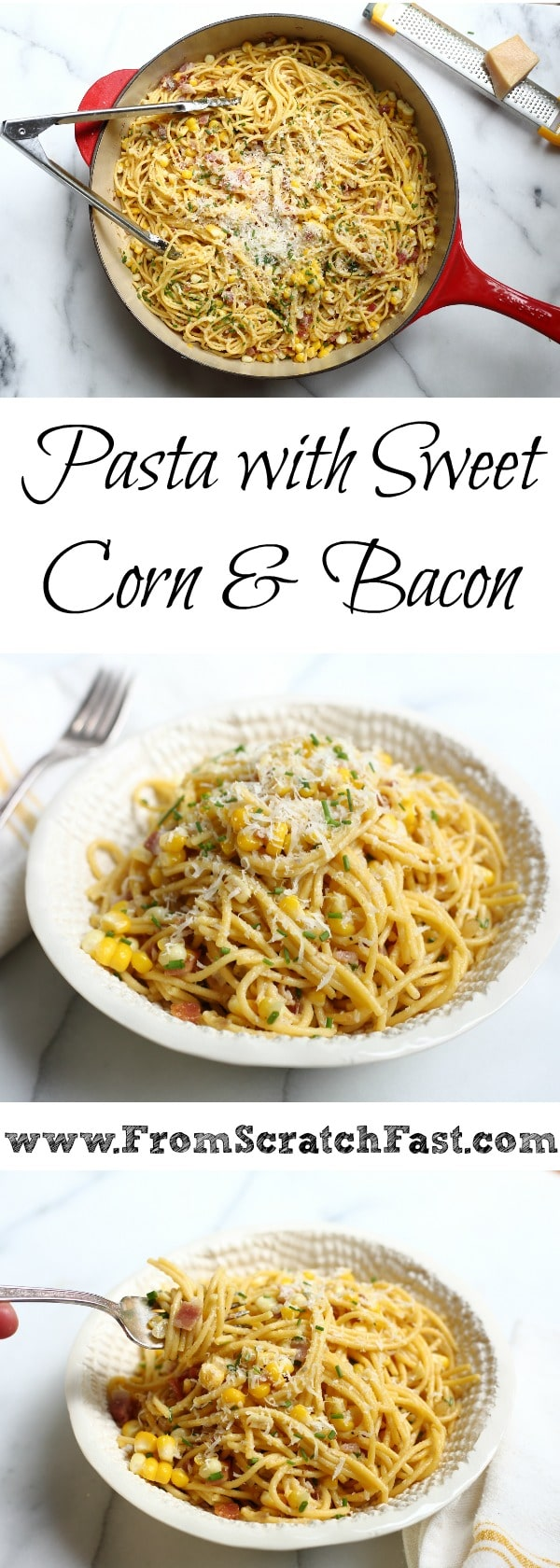 This pasta with corn and bacon is the ultimate sweet and savory weeknight meal!