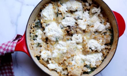Skillet Lasagna with Mushrooms & Spinach (Gluten-Free)