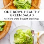 Simple green salad on a plate.